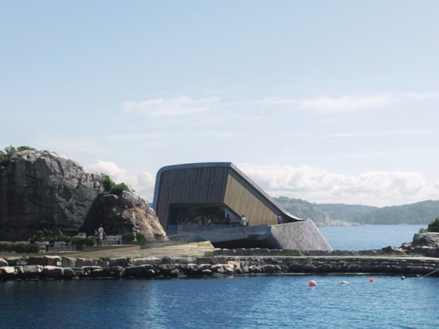 entrance underwater restaurant Norway